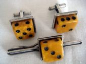 1940's - 1950's Lucite Dice Cufflinks with Matching Tie Clip (SOLD)